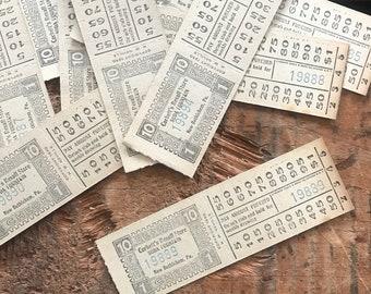 Vintage Tickets - Set of 7 - Soda Fountain, Vintage Ephemera, Paper Ephemera, Junk Journal, Ticket Stubs, 30s Ephemera, Paper Ticket Lot