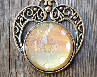 Moon Phase Boho Celestial Sun Pendant Trippy Cameo Necklace In Pale Yellow Sunset Hues Mandala Necklace Phases of The Moon and Sun Pendant