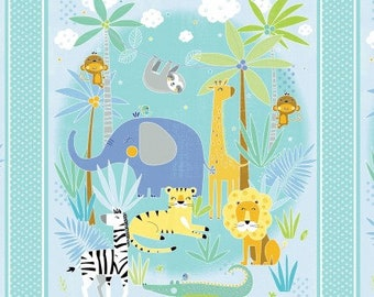 Bazoople Waterfall Lion Elephant Giraffe Zebra Cotton Quilting Fabric Book Panel
