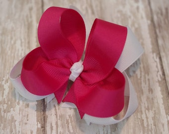 """4"""" Shocking Pink & White Boutique Layered Hair Bow"""