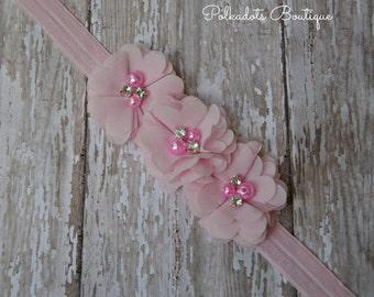 Pale Pink Baby Headband, New Baby Gift, Pink Headband, Newborn Pink Headband, Pink Flower Headband , Baby Girl Headband