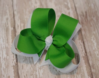 """4"""" Apple Green & White Boutique Layered Hair Bow"""