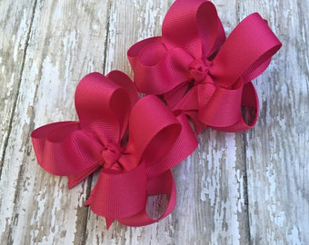 """Fuchsia Pigtail Bows Shocking Pink Pigtail Bows Bright Pink Pigtail Bows Girls Hair Bows 3"""" Double Layer Hairbows Set of 2 Pigtail Bows"""