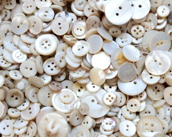 Supplies - Pound of Mother of Pearl Buttons, vintage button lot, pound of buttons, bulk buttons, craft buttons, shabby vase filler