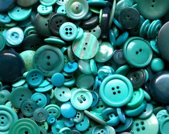 100 Aqua Vintage Buttons, Turquoise blue buttons, teal buttons in bulk for crafts or sewing