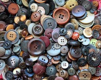 Pound of primitive buttons, vintage button lot, bulk buttons, bulk button lot, ugly buttons, craft buttons, brown buttons, gray, antique