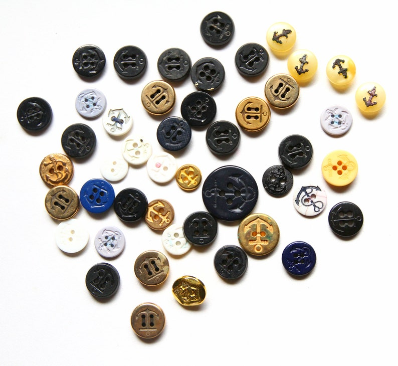 Supplies - Lot of Shabby Anchor buttons, nautical buttons, shabby buttons,  craft buttons, bulk buttons, navy buttons,