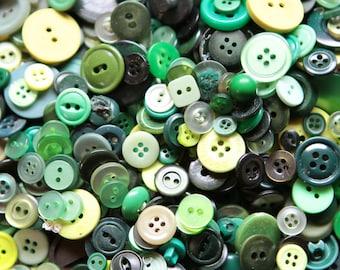 100 Green Buttons, some vintage, craft buttons, bulk buttons,