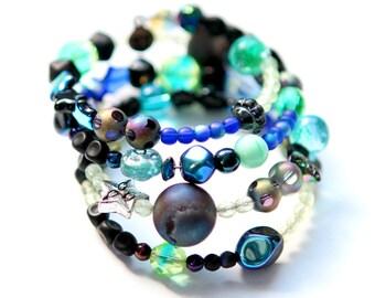 Boho Wrap Bracelet -Galaxy- Vaseline Glass Bracelet, Beaded Wrap Bracelet, Memory Wire Bracelet, Uranium Glass Jewelry, Blacklight Bracelet