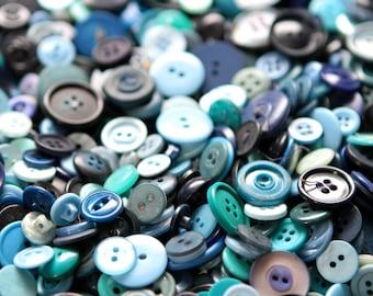 100 Blue Buttons, vintage craft buttons, bulk buttons