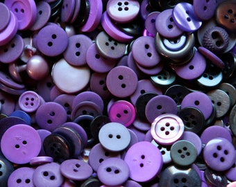 100 Purple Buttons for crafts