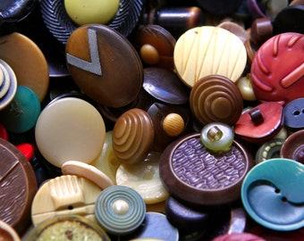 50 Antique Celluloid Buttons, bulk buttons, bulk button lot, ugly buttons, craft buttons, one piece 30's