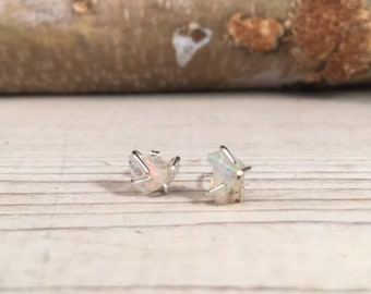 OPAL Rough OCTOBER Birthstone Earrings, Simple and Elegant, Gift for Teenager, Gift for BFF, Gift for girlfriend, Raw Stone Earrings