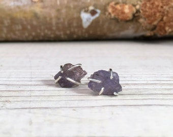 Tanzanite DECEMBER ROUGH Birthstone Earrings, Simple and Elegant, Gift for Teenager, Gift for BFF, Gift for girlfriend, Raw Stone Earrings