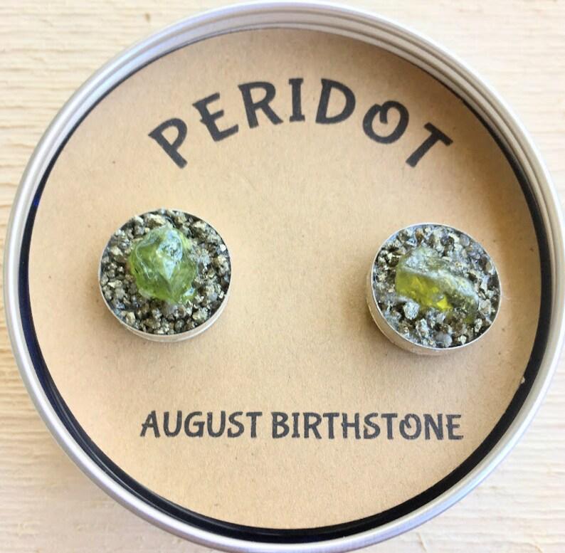 August Birthstone Peridot Cufflink gift birthstone  gift for boyfriend Raw Stone gift for man