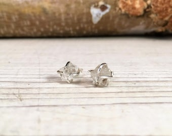HERKIMER Raw Rough APRIL Birthstone Earrings, Simple and Elegant, Gift for Teenager, Gift for BFF, Gift for girlfriend, Raw Stone Earrings