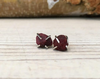 RUBY Raw Rough JULY Birthstone Earrings, Simple and Elegant, Gift for Teenager, Gift for BFF, Gift for girlfriend, Raw Stone Earrings