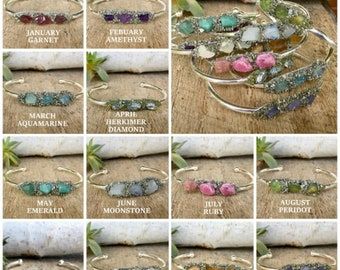Birthstone Bracelet, Simple and Elegant, Gift for Teenager, Gift for BFF, Gift for girlfriend, Bridesmaid gift, Rough Gemstones
