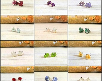 Birthstone Earrings, Simple and Elegant, Gift for Teenager, Gift for BFF, Gift for girlfriend, Bridesmaid gift, Rough Gemstones