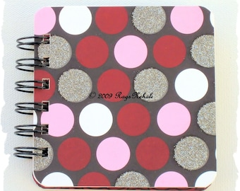 Pink \/ Red \/ Cream \/ Black - Polka Dots - Post It Note Holder Planner