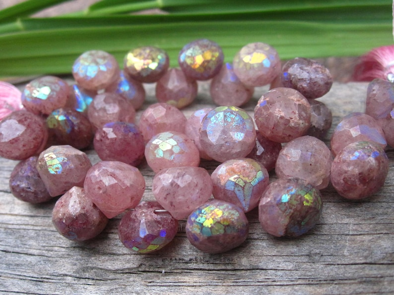 Mystic Lepdiolite Included Quartz faceted onion cut briolettes 4 inches