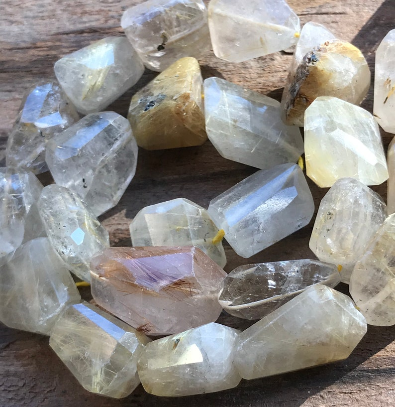 Golden Rutilated Quartz beads stone faceted flat nuggets gemstones 13 inch strand
