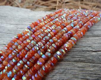 Mystic Carnelian beads rondelles - semiprecious stone - 4.5mm X 2mm - 6 inches