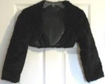 Bolero Black Faux Fur Bridal Wedding Shrug long sleeve fully lined crop Jacket