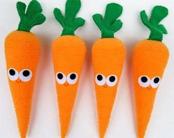 Carrot - Plush Food - One Carrot - Play Food - Plush Carrot - Gifts For Kids - Anthropomorphic - Plush Vegetable - Fun Food