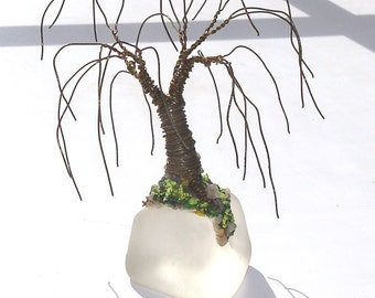Willow on Ice, Mini Wire Tree Sculpture. Original, one of a kind, by Sal Villano