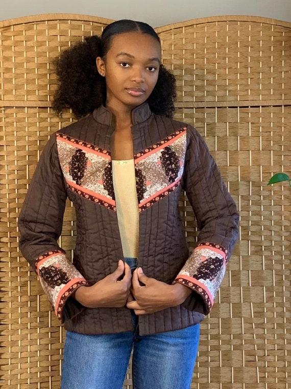 70's autumn pinwheel quilt coat xs/small
