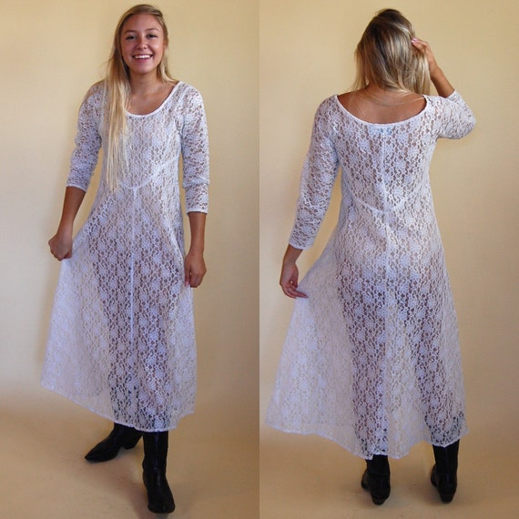 90s Sheer White Lace Dress