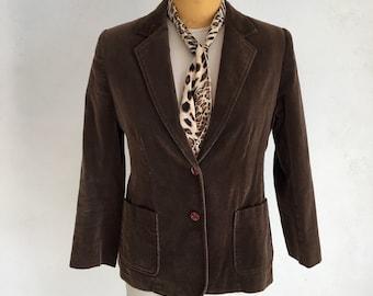 Vintage 70s brown Velvet Blazer M L