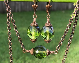 Dazzling Faceted Olivine Art Glass Necklace and Earring Set with Copper Accents and Copper Chain