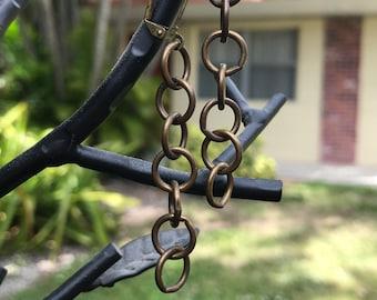 Big Brass Chain Earrings Custom Length Earrings