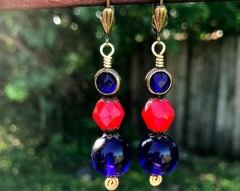 Sirens Chili Pepper Red and Cobalt Blue Art Glass Earrings