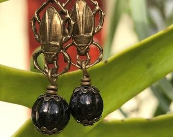 Dung Beetle Poo Roller Earrings