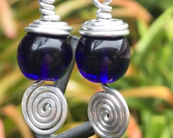 Cobalt Blue Art Glass Globes with Coiled and Spiraled Aluminum Wire Wrapped Earrings