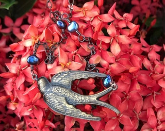 Beautiful Soaring Swallow Necklace with Iridescent Little Fresh Water Peacock Pearls on Vintage Brass Peanut Chain