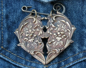 Brass Rococo Style Heart  Brooch Pin with Flowers