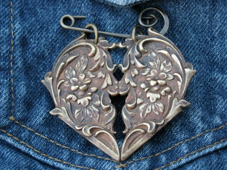 Brass Rococo Style Heart  Brooch Pin with Flowers image 0