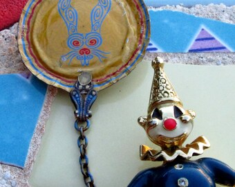 Articulated Clown with Creepy Rabbit Balloon Chatelaine Style Brooch