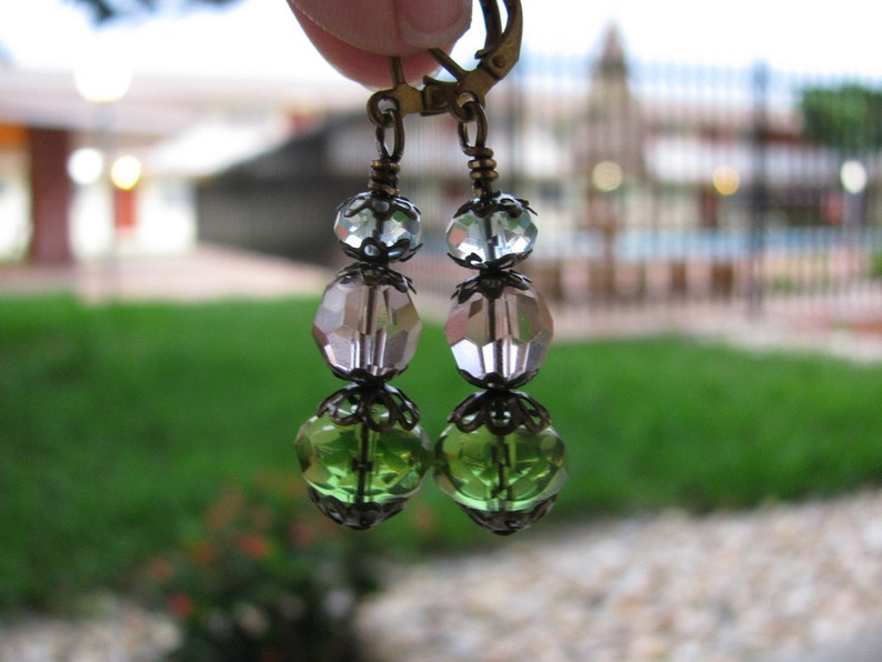 Sun Catcher Earrings in Stacked Spring Colors Light Blue Rose image 0