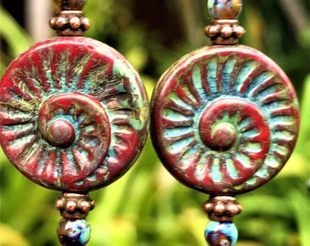 Painted Snails Beautiful Brick Red Spiral Glass Snails with a Wonderful Picasso Paint like Blueish Finish