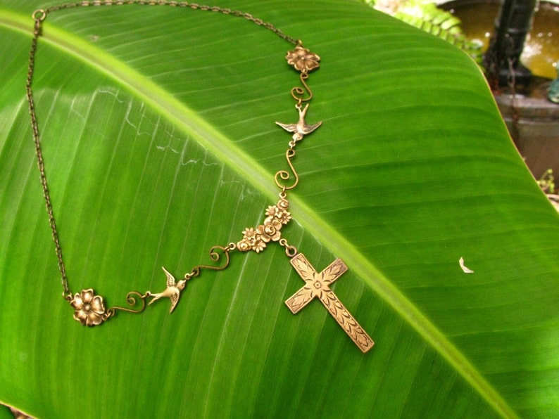 Mission San Juan Capistrano Cross Necklace Swallows and image 0