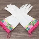 Latex Free Cleaning Gloves. Size Small. Lily Pulitzer Style Floral Kitchen Dish Gloves with Pink Pleated Trim. Mother's Day Gift.