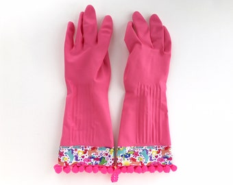 Unicorn Latex Dishwashing Gloves. Size Large. Pink Pom Pom Rubber Spring Cleaning Gloves. Kitchen Accessory Gifts Under 30 for Her