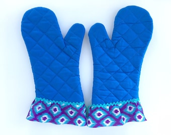 Fancy Oven Mitt Set. Pot Holders for Baking. Blue Tribal Kitchen Decor. Mother's Day Present. Baking Gift for Chefs. Gifts under 50.