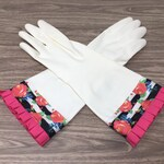 Designer Latex Free Cleaning Gloves. Size Small, Medium or Large. Kitchen Dish Gloves. Preppy Roses and Stripes with Pink Pleated Ruffle.