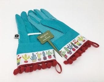 Designer Garden Gloves. Cute Cactus Gardening Gloves. Red Pom Poms. Outdoor  Work Gloves For Women. Motheru0027s Day Gift. Gardener Present.